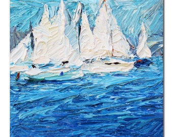 Small seascape oil painting, sailboats original painting on canvas, textured art