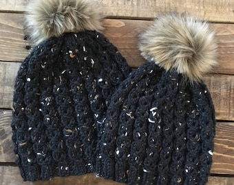 Mommy And Me Hats > Mom And Me Hats > Matching Hats > Baby And Mommy Hats > Baby Hats > Fur Pom Pom hat > Beanie > Toddler Hats