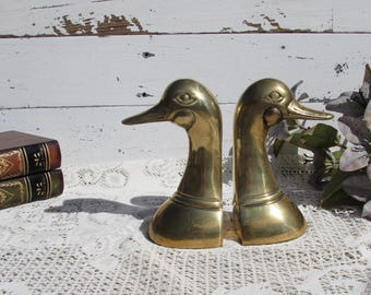 Brass Duck Head Bookends ~ Mad Men Decor ~ Mid Century ~ Brass Ducks