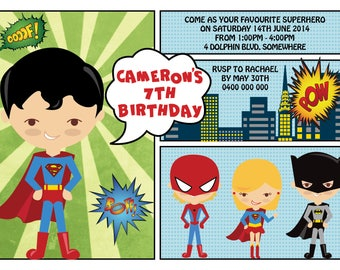 Superhero Birthday Invitation / Superhero party / Superhero invitation / Superhero Birthday / Superhero theme / Superhero invite