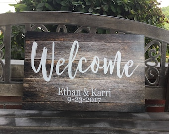 Welcome to Our Wedding Canvas Sign, Rustic Wedding, Love Laughter, Wedding Gift, Anniversary Gift, 7 sizes, Personalized, Made to order