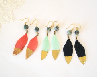 Gold Dipped Feather Earrings, Boho Jewelry, Natural Turquoise Jewelry, Gift for Her, Dangle Earrings