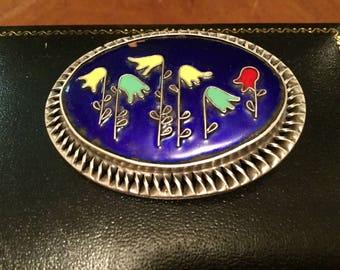 1950s Israeli 21/2 Inch Silver Enamal Handmade Jewelers Mark Large Brooch