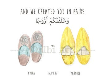 And We Created You in Pairs - Personalised Moroccan Slippers Couple Print