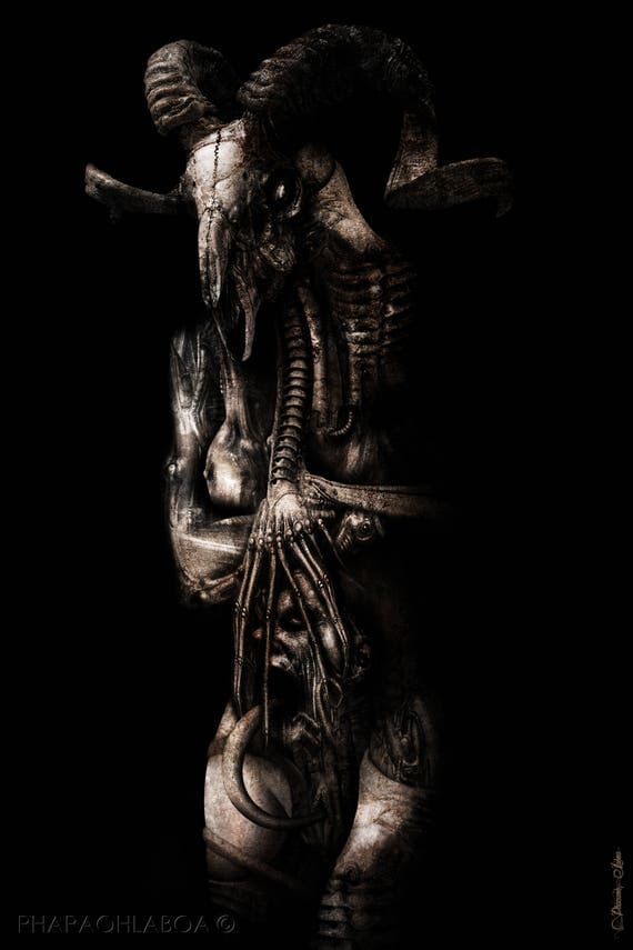 H.R. Giger Inspired Biomechanical Disturbing Demon Ram Monster