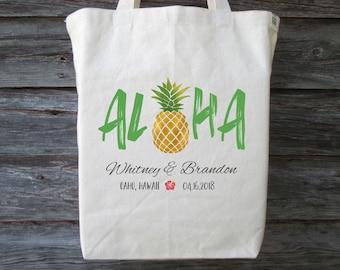 Aloha Tote Bag, Aloha Pineapple Wedding Tote, Hawaii Wedding Tote, Hawaii Wedding Welcome Bag, Hawaii Wedding Guest Bag, Hibiscus Tote Bag