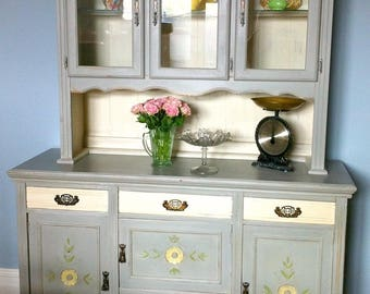 large kitchen dresser painted farmhouse antique french country with glass cabinets - Kitchen Dresser