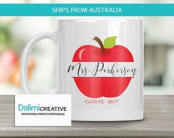 Teachers Mug - Custom Teacher Mug - Teacher Appreciation Gift - End of Year Teachers Gift - Personalised Teachers Gift - Apple!
