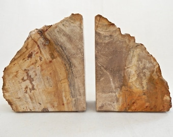 Petrified Wood Stone Book Ends  (Ideal Gift for Him)