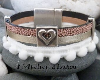 Unique handmade woman stripe with PomPoms, satin leather Silver Pink caviar leather and shiny, from bottom