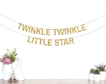 Twinkle Twinkle Little Star Banner, Star Banner, Birthday Banner, Baby Shower Banner, Star Party Decorations, Star Garland, Glitter Banner