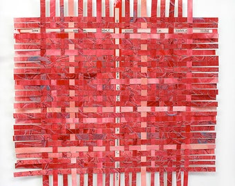 Red Love Words Paper Weaving- Hidden Words- Handwoven- Abstract Woven Art- 10x10- Love Is The Answer