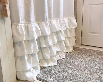 linen shower curtain four ruffle shower curtain handmade shabby chic girls bathroom curtain