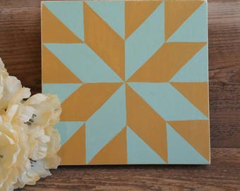 Handpainted quilt block decor - mustard yellow and seafoam green