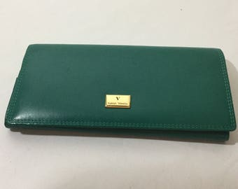 Vintage Leather emerald Green and Gold Rudolph Valentino Wallet Clutch