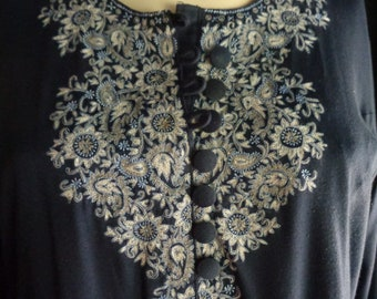Vintage Caftan robe embroidered navy blue long