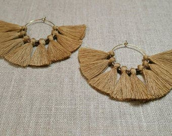 Light Camel Tassel Fan Hoop Earrings / Tribal Earrings / Boho Chic / Gypsy - ETFH01LC