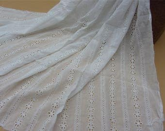 4.5ft Cotton ivory Lace Fabric in White, Retro Hollowed Flower Lace Embroidery Fabric Eyelet Lace- Fabric by yard