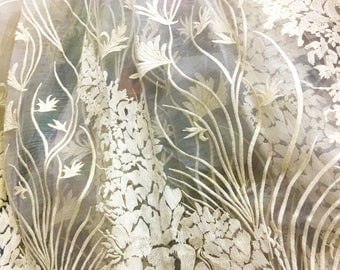 Silk embroidery fabric,flower embroidery on silk organza ,leaves fabric-ZSME0024