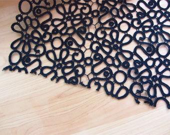 black Lace trim /  Lace Trim / Solubility Lace / white Lace Trim - 1 Yard,Schiffli Lace,machine-made lace,Chemical Lace