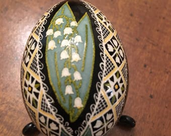 Lily of the Valley pysanka on chicken egg by The Pysanky Nest