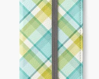 Folio Wallet Case for iPhone 8 Plus, iPhone 8, iPhone 7, iPhone 6 Plus, iPhone SE, iPhone 6, iPhone 5s - Blue & green plaid design case