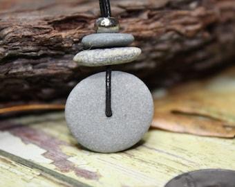 Beach stone necklace, Lake Superior rock necklace, river rock necklace, beach pebble, Zen, cairn necklace, Minnesota rock jewelry