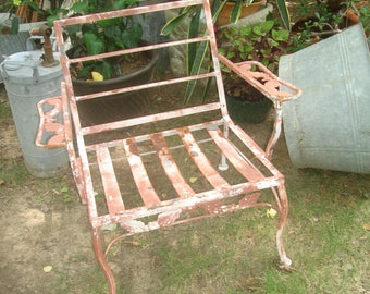 Nice CLEARANCE SALE Antique Metal Outdoor Furniture / Vintage Metal Patio Chair/ Outdoor  Lawn Chair