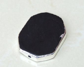 Jet Black Onyx Polished Slab Bead - Polished Onyx Connector - Pendant - Center Drilled - Silver Edge - 30mm x 40mm - 131