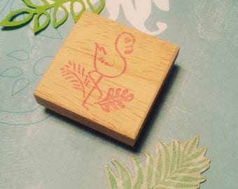 "Hand carved rubber stamp ""Tropi-Flamingo"" Flamingo / Flamingo handcarved rubberstamp"