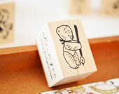 a Bear writing letters/ Original Rubber Stamp / Designed by Krimgen