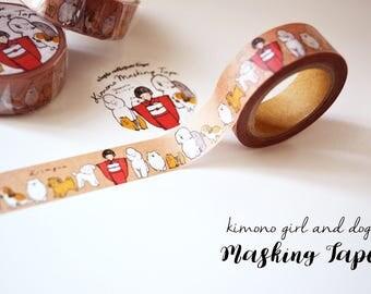SET of THREE Masking Tapes -Kimono Girl & Dogs- Designed by Krimgen