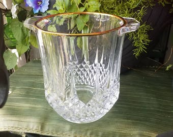 Cristal D'Arques-Durand Longchamp Lead Crystal Gold Rim Champagne Chiller/Champagne Bucket