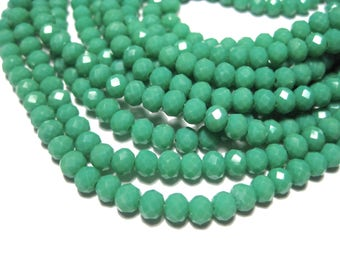 1 Strand Emerald Green Faceted Rondelle Glass Beads 4x3mm ( No.12)