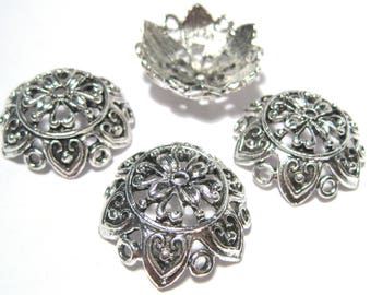 4pcs Large Antique Silver Flower Bead caps