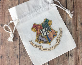Hogwarts Crest Harry Potter inspired Natural Cotton Canvas Muslin Bag or Pouch or re-usable Gift Bag
