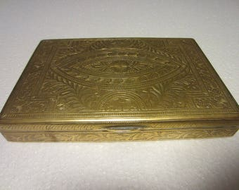 Pakistan Brass Humidor Cigar Box Floral Chasing Marked in Etch