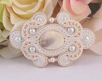 Soutache barrette. Cream hair accessory. Wedding hair accessory. Wedding barrette by MollyG Designs. Beaded ivory hair clip. Cream barrette.