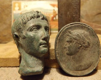 Roman statue / art -The first Emperor, Augustus - bust & relief sculpture amulet