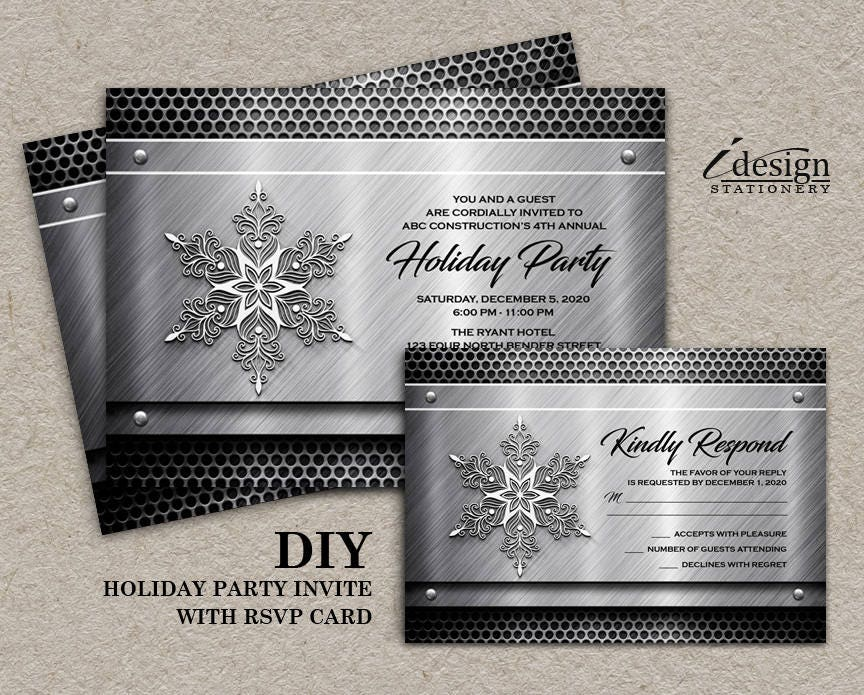 Holiday Party Invitation For Construction Business | Printable Metal ...