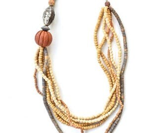SUMMER SALE Vintage 90s beaded wooden hippie necklace