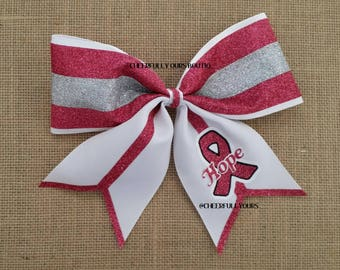 Best and Trending Customized Unique Sparkle Glitter Hope Cheer Bow by Cheerfully Ours Boutiq