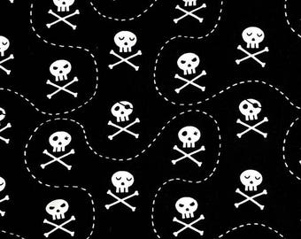 Fabric - jersey fabric -Black skull print cotton/elastane knit