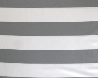 Fabric - Viscose elastane jersey fabric - Grey and white wide stripe - knit.