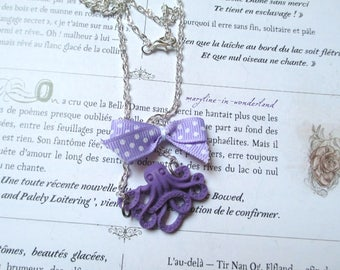 Purple and silver octopus Octopus necklace
