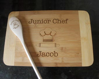kid baking set, kid's cutting board and spoon set, personalized engraved cutting board & spoon set, kid cooking gift set, child baking gift
