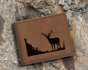 Engraved Bifold Wallet - Personalized Hunting-Full Size Art Work-Dark Brown-Buck
