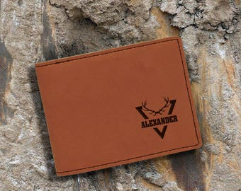 Engraved Bifold Wallet-Personalized Hunting-Mini Size Art Work-Rawhide-Personalized Point
