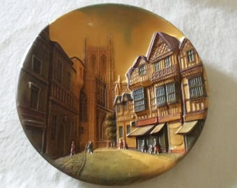 """Bossons Congleton England Hand Painted Vintage Plaque 10"""" St Werburgh Street Chester"""