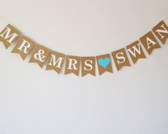 Wedding decoration personalised Mr & Mrs bunting banner sign